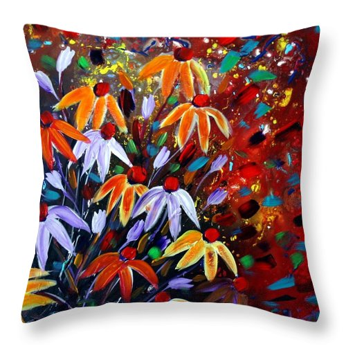Flowers Throw Pillow featuring the painting Wildflowers At Sunset by Luiza Vizoli