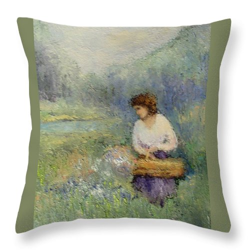 Woman Throw Pillow featuring the painting Wildflowers by Gail Kirtz