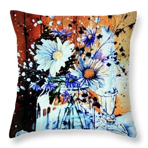 Wildflowers In A Mason Jar Throw Pillow featuring the painting Wildflowers In A Mason Jar by Hanne Lore Koehler