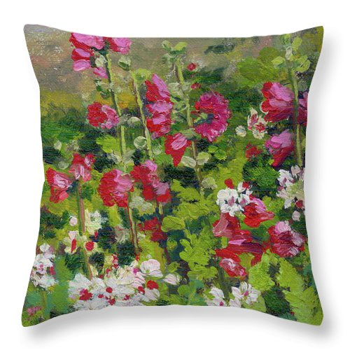 Impressionism Throw Pillow featuring the painting Wildflowers by Keith Burgess