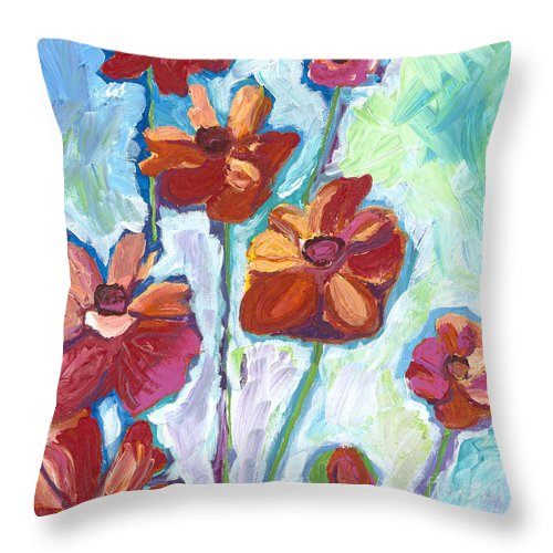 Flowers Throw Pillow featuring the painting Wildflowers by Kirsten Throneberry