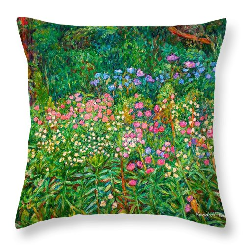 Floral Throw Pillow featuring the painting Wildflowers Near Fancy Gap by Kendall Kessler