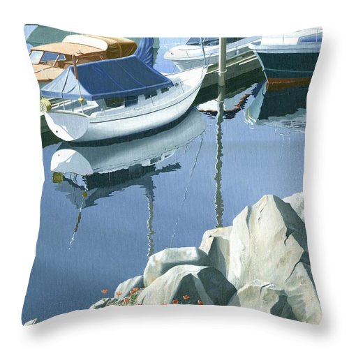 Sailboat Throw Pillow featuring the painting Wildflowers On The Breakwater by Gary Giacomelli
