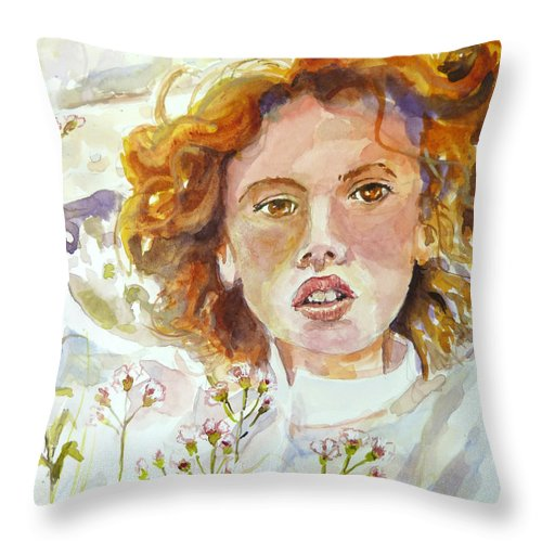 Wildflowers Throw Pillow featuring the painting Wildflowers by P Maure Bausch