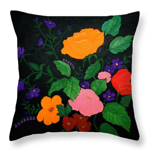 Roses Throw Pillow featuring the painting Wildflowers by Stephanie Moore