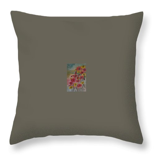 Watercolor Throw Pillow featuring the painting Wildflowers Still Life Modern Print by Derek Mccrea