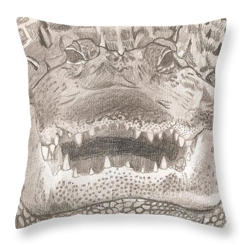 Alligator Throw Pillow featuring the drawing Wildlife Portrait Original Sketch By Pigatopia by Shannon Ivins