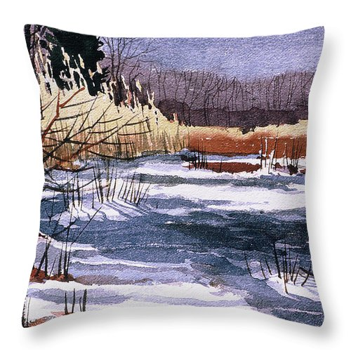 New Jersey Throw Pillow featuring the painting Wildlife Reserve by Donald Maier
