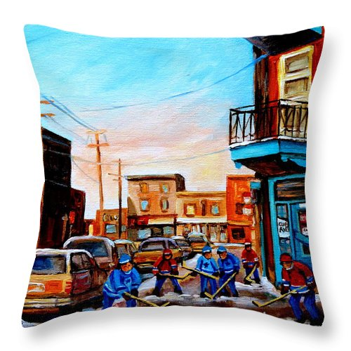 Hockey Throw Pillow featuring the painting Wilensky's A Friendly Game Of Hockey by Carole Spandau