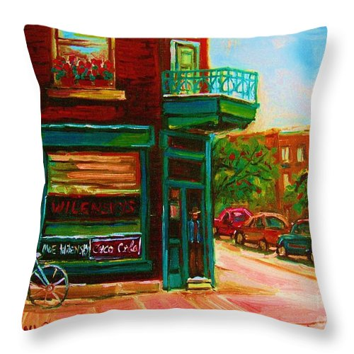 Wilenskys Throw Pillow featuring the painting Wilenskys With Red Geraniums by Carole Spandau