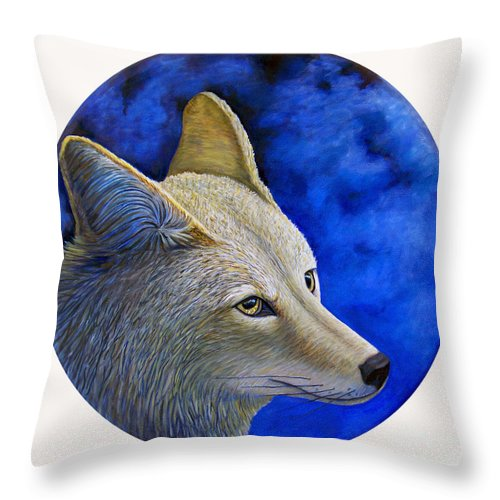 Coyote Throw Pillow featuring the painting Wiley Coyote by Brian Commerford