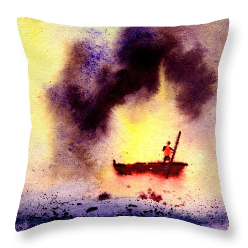 Landscape Throw Pillow featuring the painting Will Power by Anil Nene
