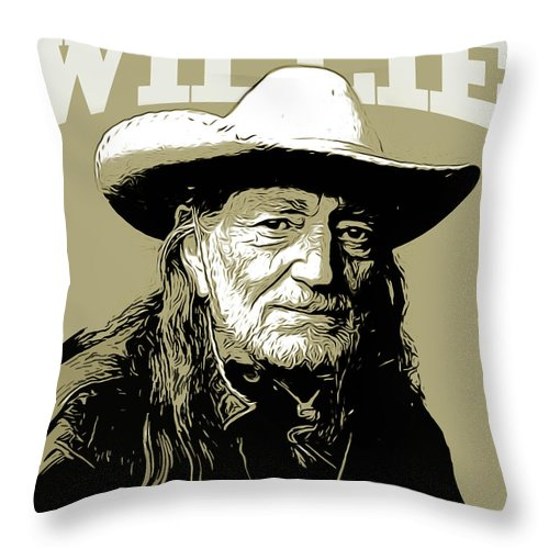 Willie Nelson Throw Pillow featuring the mixed media Willie by Greg Joens