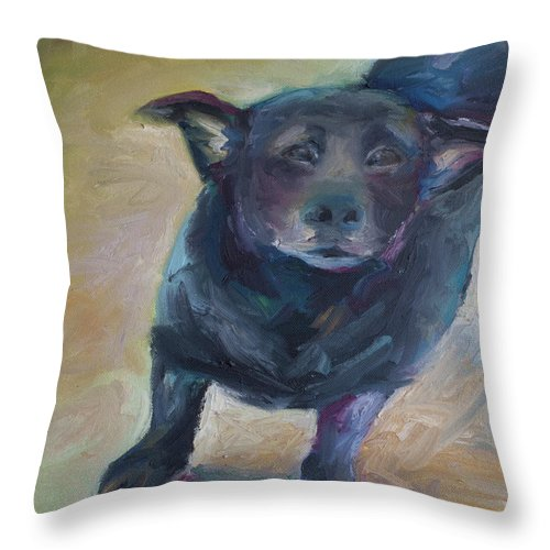 Pet Portrait Throw Pillow featuring the painting Willie by Julie Dalton Gourgues
