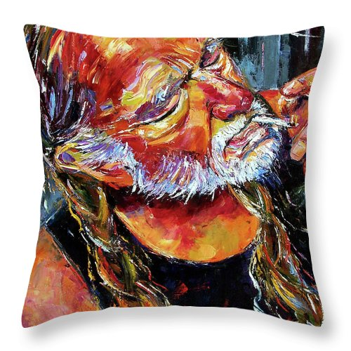 Willie Nelson Throw Pillow featuring the painting Willie Nelson Booger Red by Debra Hurd