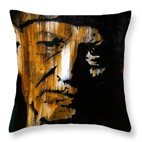 Willie Nelson Throw Pillow featuring the painting Willie Nelson by Brad Jensen