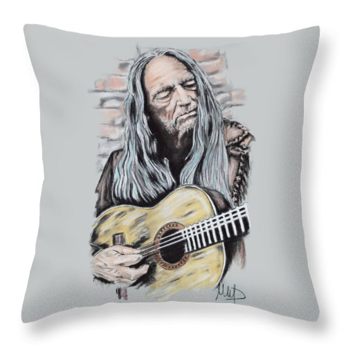 Willie Nelson Throw Pillow featuring the drawing Willie Nelson by Melanie D