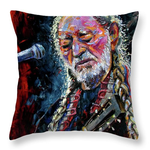 Booger Red Throw Pillow featuring the painting Willie Nelson Portrait by Debra Hurd