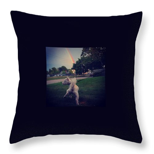 Rainbow Throw Pillow featuring the photograph Gold At The End Of The Rainbow by Kate Arsenault
