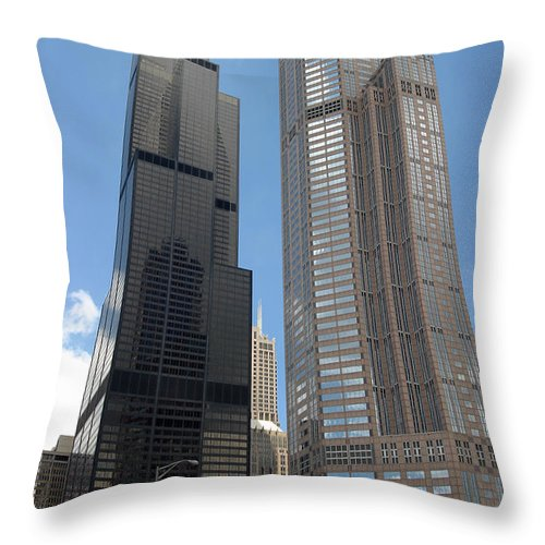 3scape Throw Pillow featuring the photograph Willis Tower Aka Sears Tower And 311 South Wacker Drive by Adam Romanowicz