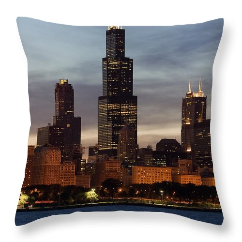 3scape Photos Throw Pillow featuring the photograph Willis Tower At Dusk Aka Sears Tower by Adam Romanowicz