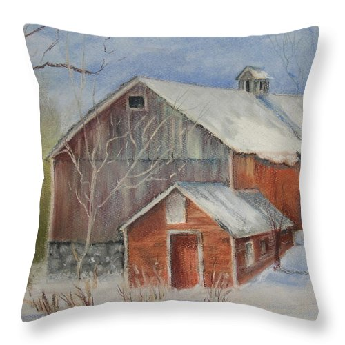 Barn Throw Pillow featuring the painting Williston Barn by Carol Mueller