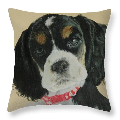 Dog Throw Pillow featuring the pastel Willow by Carla Armbrust