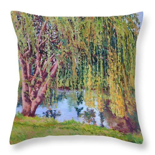Impressionism Throw Pillow featuring the painting Willow by Keith Burgess