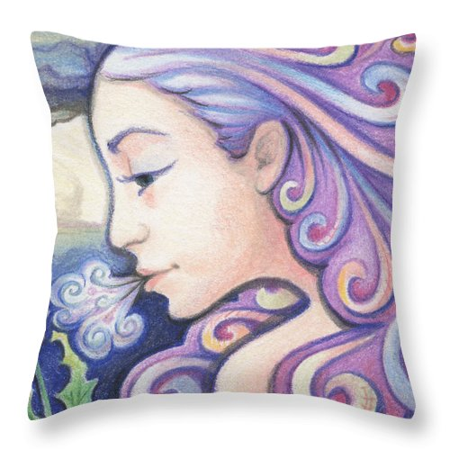 Atc Throw Pillow featuring the drawing Wind - The Elements by Amy S Turner