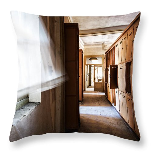 Abandoned Throw Pillow featuring the photograph Wind Blows Past Times Away - Urbex by Dirk Ercken