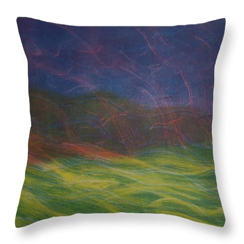 Landscape Throw Pillow featuring the painting Wind by Emily Young