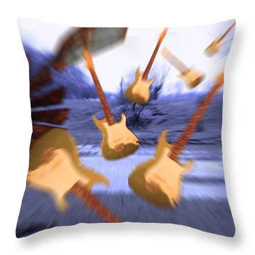 Electric Throw Pillow featuring the digital art Wind Guitars by Cathy Beharriell