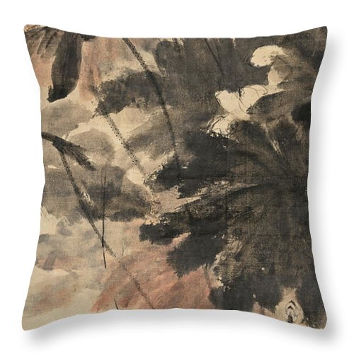 Lotus Plum Peony Flower Throw Pillow featuring the painting Wind In The Lotus by Zhang Daqian