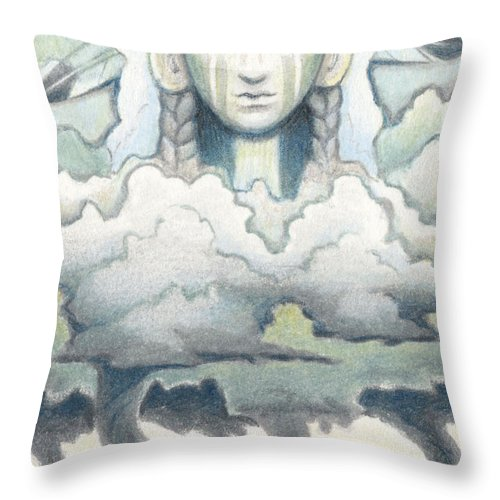 Atc Throw Pillow featuring the drawing Wind Spirit Dances by Amy S Turner