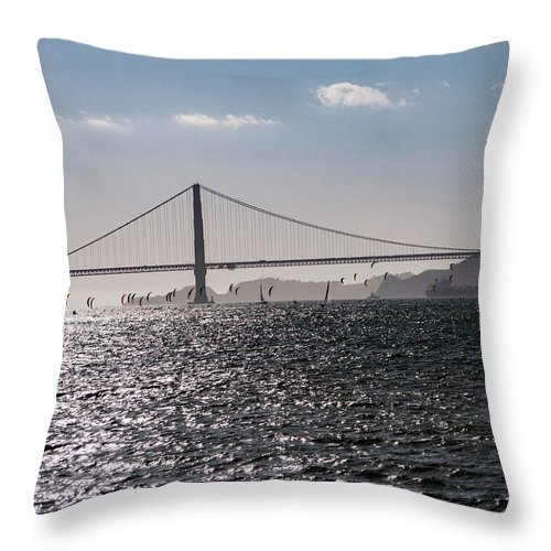 San Francisco Throw Pillow featuring the photograph Wind Surfing Under The Bridge by Andrew Hollen