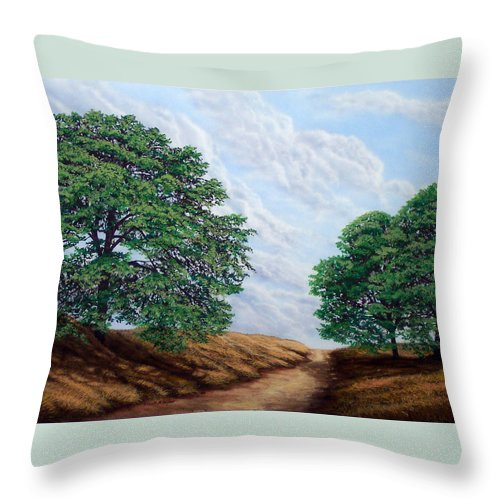 Landscape Throw Pillow featuring the painting Windblown Clouds by Frank Wilson