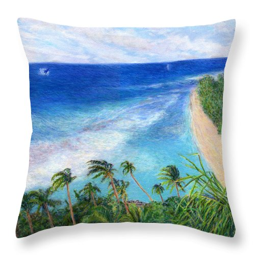 Rainbow Colors Pastel Throw Pillow featuring the painting Windblown by Kenneth Grzesik