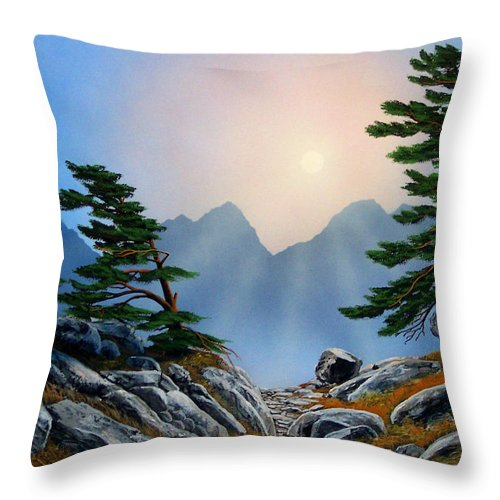 Windblown Pines Throw Pillow featuring the painting Windblown Pines by Frank Wilson