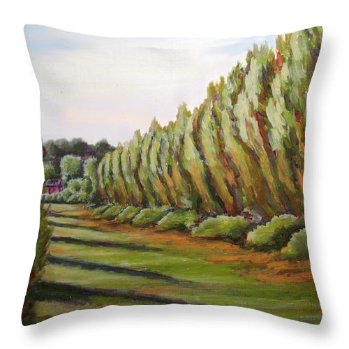 Oil Painting Throw Pillow featuring the painting Windbreak Evening by Karla Beatty