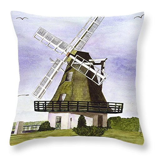 Windmills Throw Pillow featuring the painting Windmill At City Beach by Mary Gaines