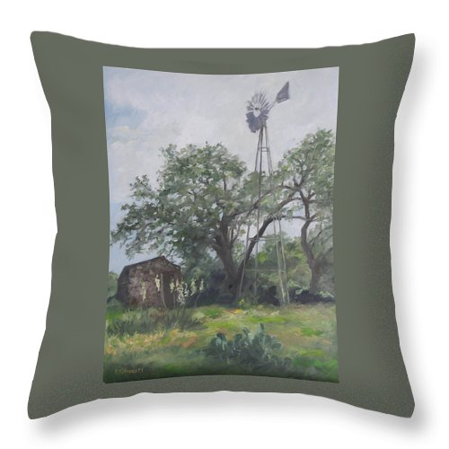 Texas Throw Pillow featuring the painting Windmill At Genhaven by Connie Schaertl