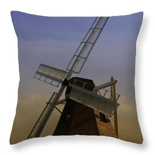 Windmill Throw Pillow featuring the photograph Windmill At Windjammer Park Wm6887a by Mary Gaines