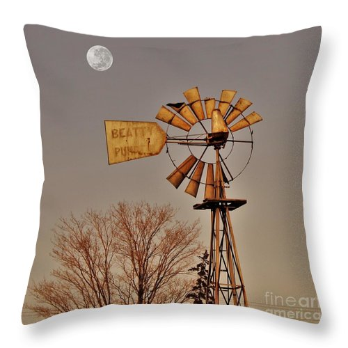 Farm Throw Pillow featuring the photograph Windmill Fullmoon by Anthony Djordjevic