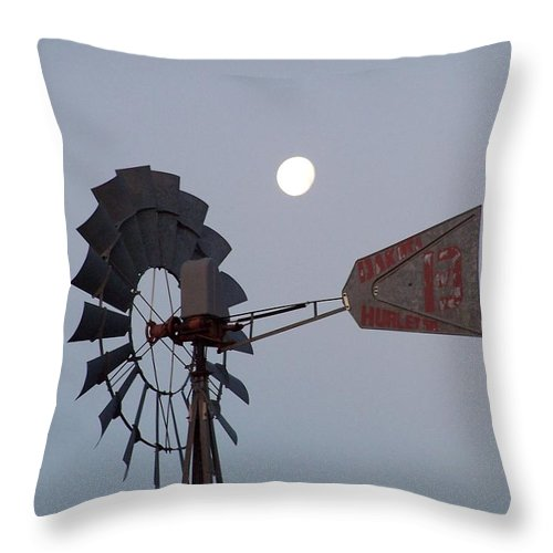 Windmill Throw Pillow featuring the photograph Windmill Moon by Gale Cochran-Smith