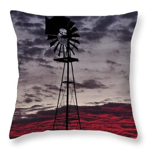 Sunset Throw Pillow featuring the photograph Windmill Sunset Tall by Mark Stratton