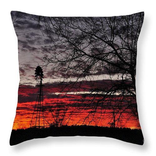 Sunset Throw Pillow featuring the photograph Windmill Sunset Two by Mark Stratton