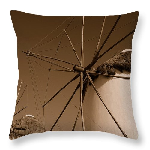 Mykonos Throw Pillow featuring the photograph Windmills In Sepia by Joe Ng