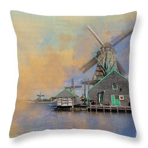 Windmills Throw Pillow featuring the photograph Windmills Of Zaanse Schans by Eva Lechner
