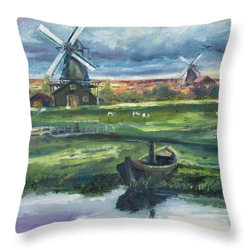 Water Throw Pillow featuring the painting Windmills by Rick Nederlof