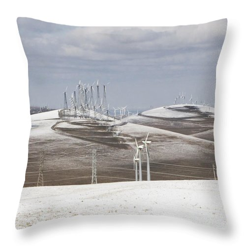 Patterson Pass Throw Pillow featuring the photograph Windmils In Snow by Karen W Meyer
